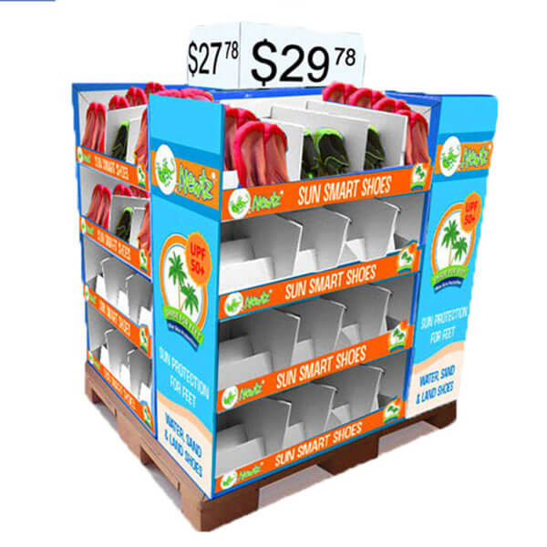 Supermarket Cardboard Dump Bin 4 Sides Cardboard Pallet Display With Shelf