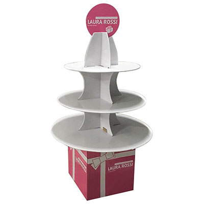 Factory Price Custom Corrugated Promotional Big Size Cardboard Floor Cake Display Stands   HLD-YPZ066