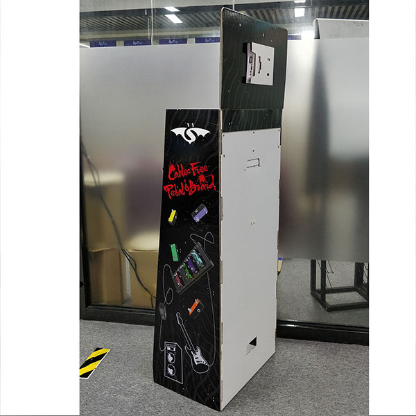 Custom Printing Classic Black Cardboard Floor Display Stand with LCD For Electronic Products   HLD-YPZ090