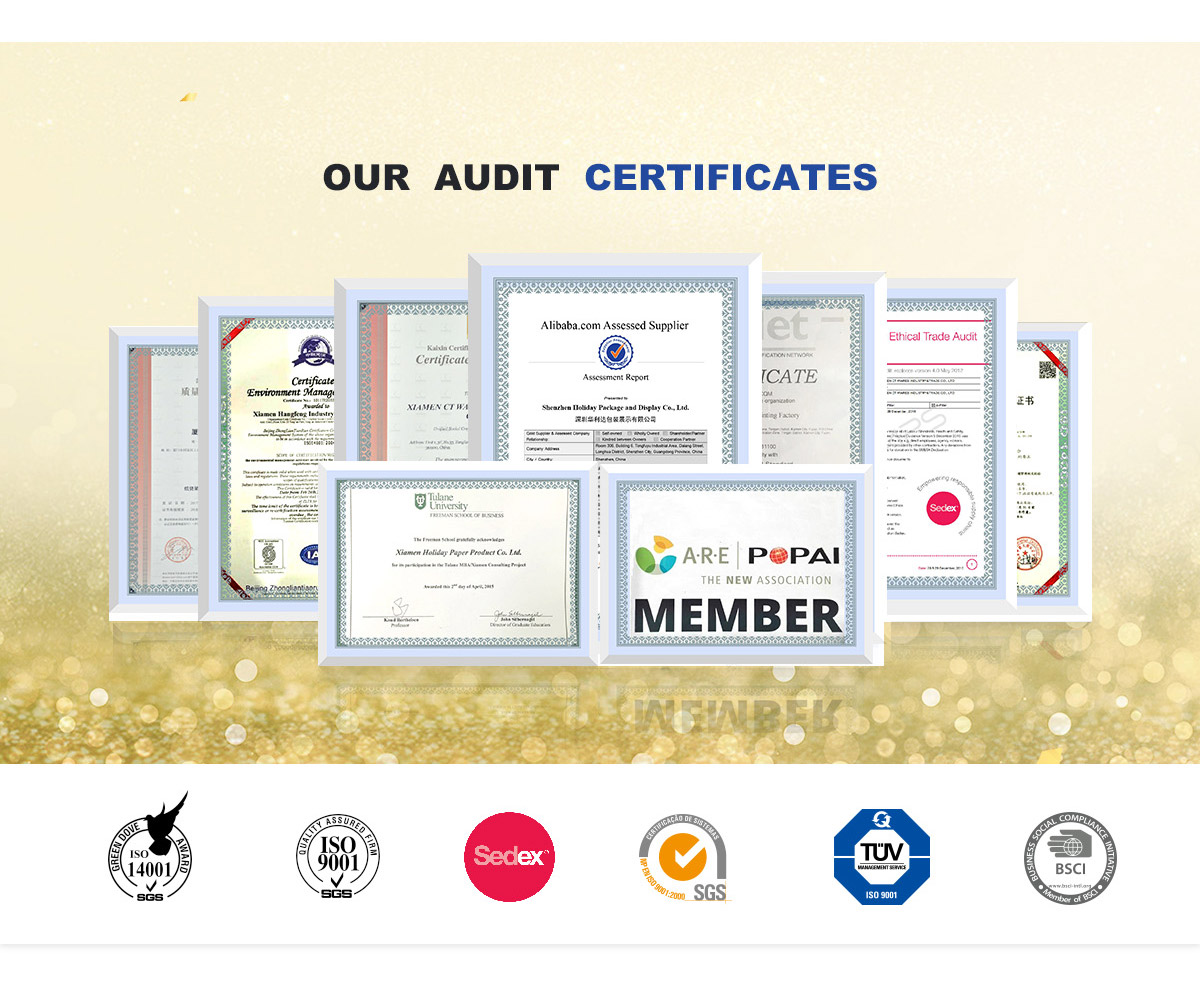 audit certificates of lanshow holiday cardboard display and packaging serive factory in china