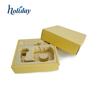 Biodegradable Pulp Molded Paper Tray For Luxury Cosmetic Packaging Box Pulp Tray HLD-P012