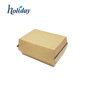 Top Quality Portable Simple Style Paper Box With Handle Packing Burger K014
