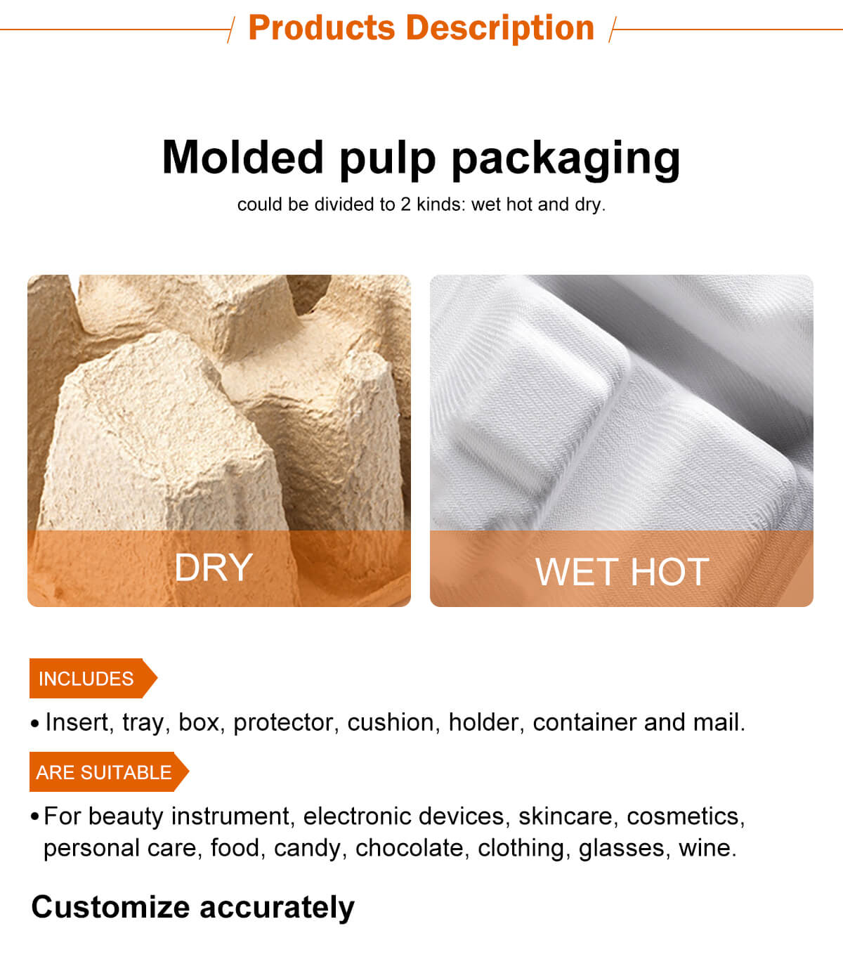 Molded pulp packaging could be divided to 2 kinds:wet hot and dry