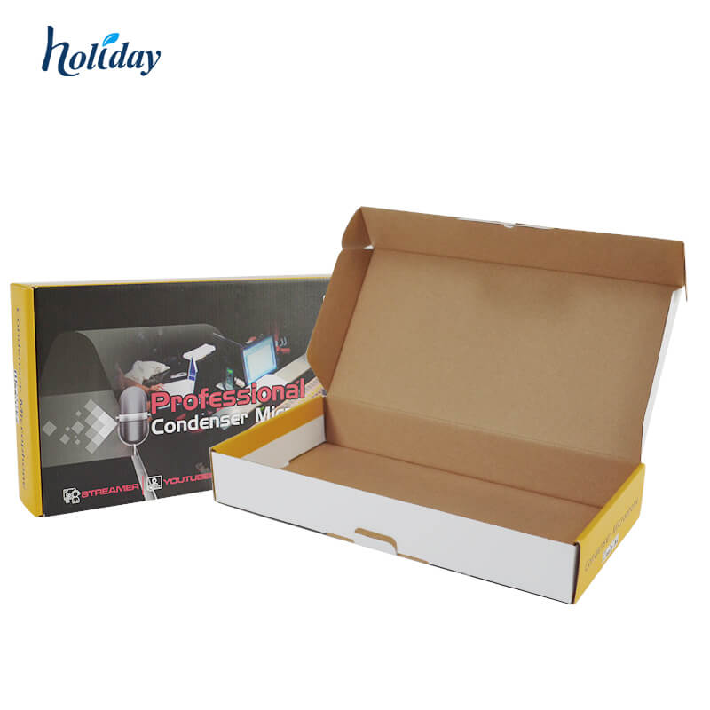 Shipping  Wholesale Different Sizes Colorful Printing Corrugated Cardboard microphone electronics Custom Mailer Box