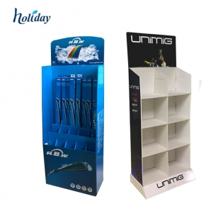 Wholesale custom Cardboard Retail Display Units Corrugated Floor Standing Book Display Shelf with Pockets