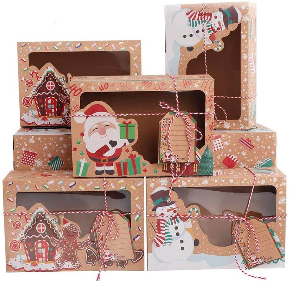 Cookie Boxes with Window Pastry Candy Party Favors Christmas Kraft Gift Boxes