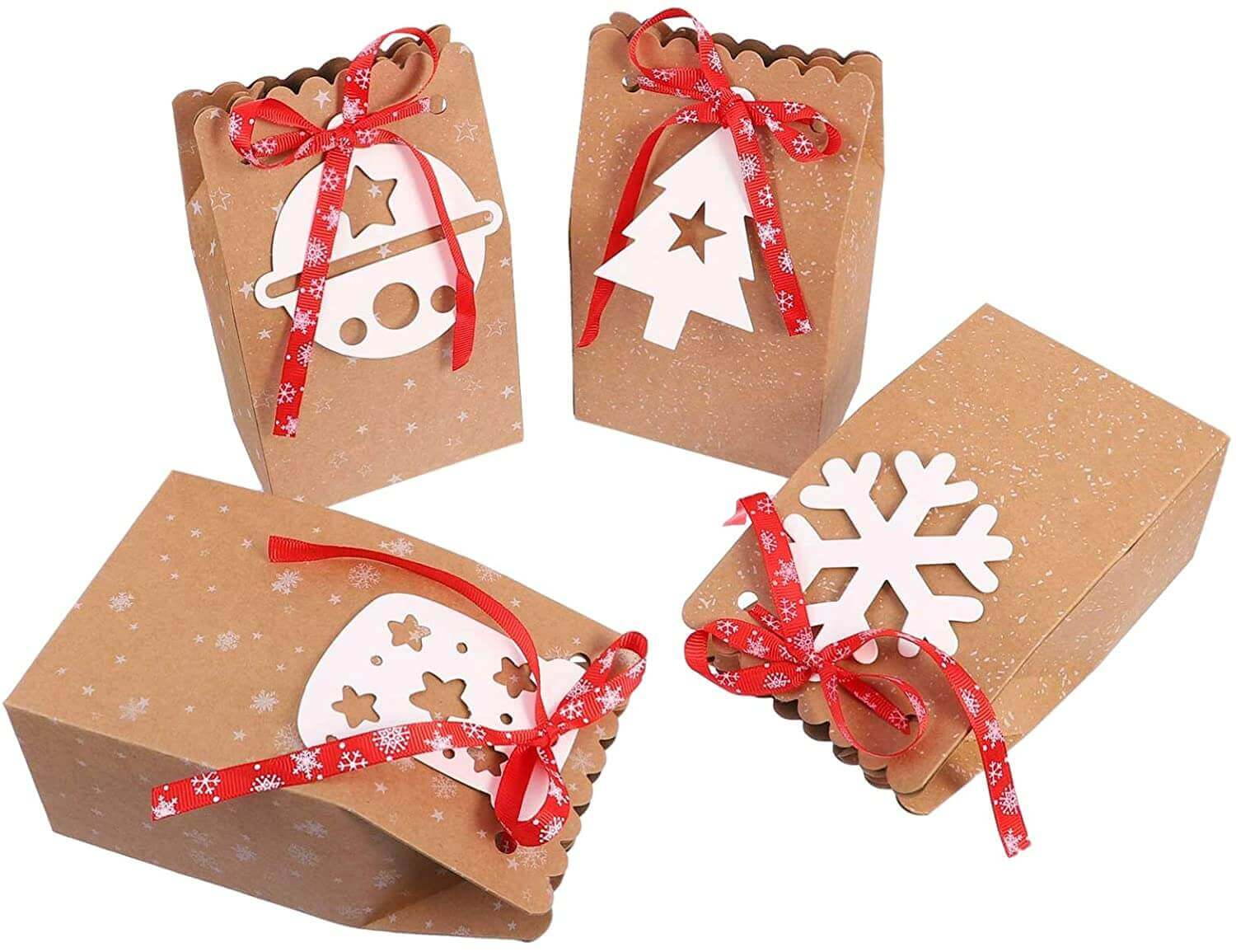 Christmas Kraft Paper Biscuit Goodies Storage Boxes Gift Bags for Party