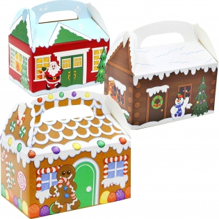 24 Pieces 3D Christmas House Cardboard Treat Boxes for Holiday Xmas Goody Gift, Goodie Paper Boxes, School Classroom Party Favor Supplies, Candy Treat Cardboard Cookie Boxes