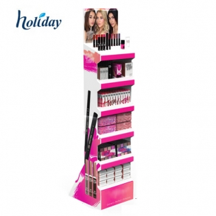 Makeup Cosmetics Eyeshadow Floor Shlef Display Stand Racks Custom Cardboard