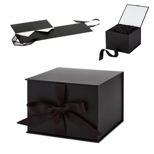 Gift Box Wrapping Empty Box Black Bow Flip Foldable Festive Packaging Box