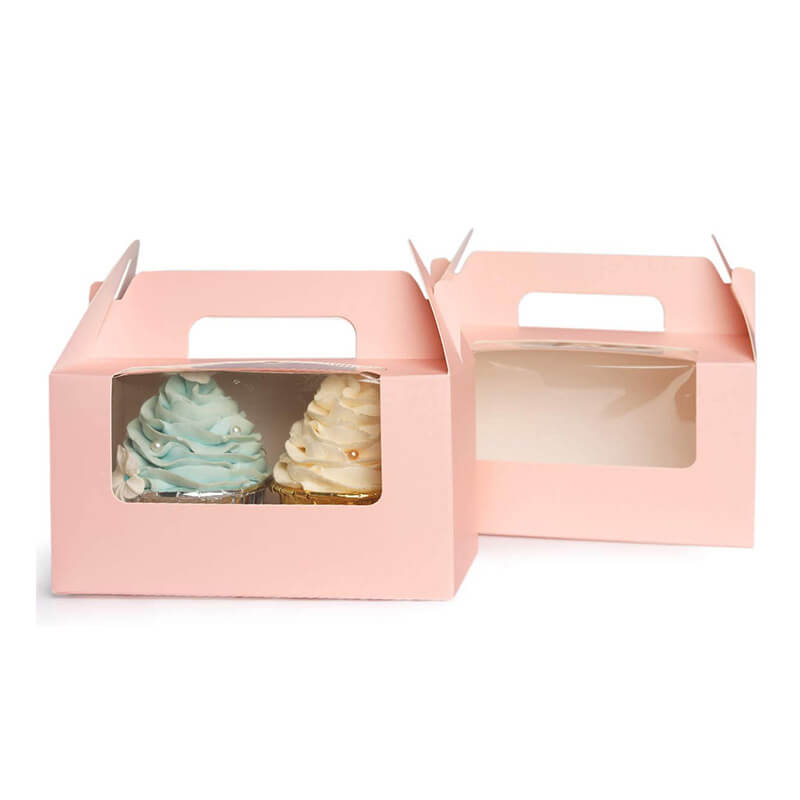 Wholesale custom Pink Cupcake Box Carrier with Insert Window Carry Food Boxs