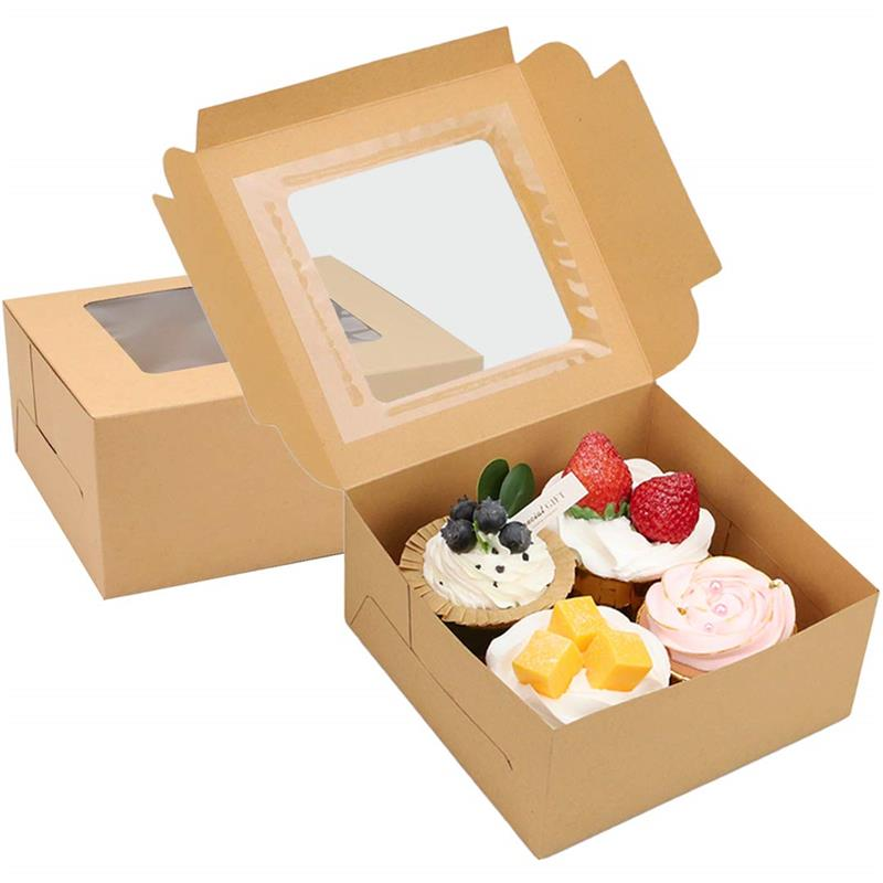 Wholesale Cupcake Boxes Food Grade kraft paper transparence windows Bakery Boxes