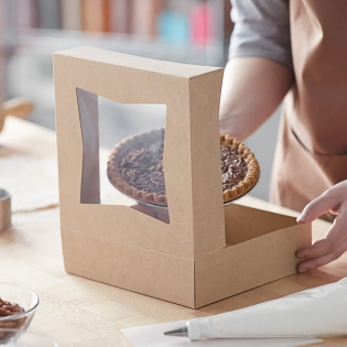 Wholesale Bakery Cookie Box Kraft Paper Package Transport With Window