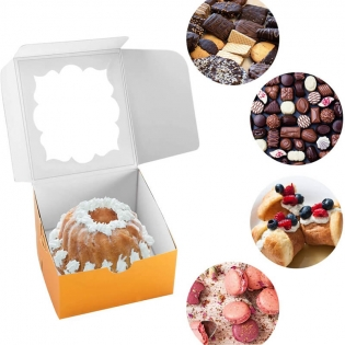 Wholesale Gold Bakery Boxes with Window Pastry Boxes Cookie Boxes for Gift Giving 4x4x2.5 Inches