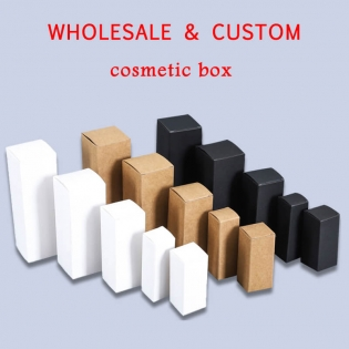 Wholesale Custom Lip Balm Box Cosmetic Packaging Box Kraft Ivory Black Paper Boxes